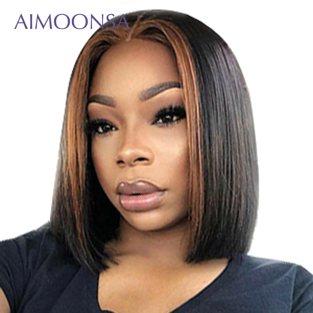 Pixie Cut Bob Wigs Short Bob Wigs Ombre 1b/27 Human Hair Wigs 13x6 150 Density Short Lace Front Wigs Straight Remy Hair Aimoonsa-in Human Hair Lace Wigs from Hair Extensions & Wigs    1