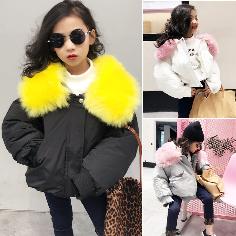 Girls cotton clothes 2018 winter new girls Korean version of the cotton coat large fur collar loose short loose coat the fall of 2015 to launch new products design high quality loose big yards the cowboy cotton women s nine minutes of pants