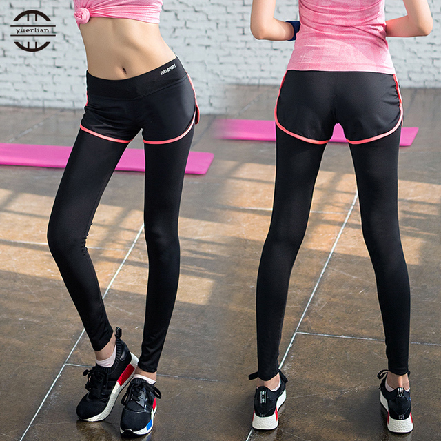 111980bbb7e0c YEL False Two-piece Legging Hot Women Gym Long Yoga Pants Sports Tights  Trousers Skinny Sexy Girls Fitness Yoga Pants