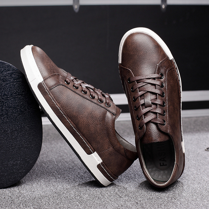 HTB1DAyvaiLrK1Rjy1zdq6ynnpXa2 Gentlemans Luxury Leather Shoes Men Sneakers Men Trainers Lace-up Flat Driving Shoes Zapatillas Hombre Casual