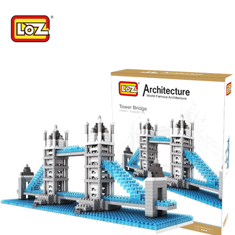 570pcs Nano Bricks Toys World Famous Architecture London Tower Bridge DIY 3D Model Loz Miniature Diamond Building Blocks Toys loz mini diamond building block world famous architecture nanoblock easter island moai portrait stone model educational toys