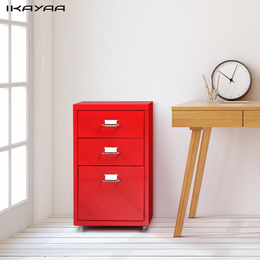 IKayaa Metal Drawer Filing Cabinet Detachable Mobile Steel