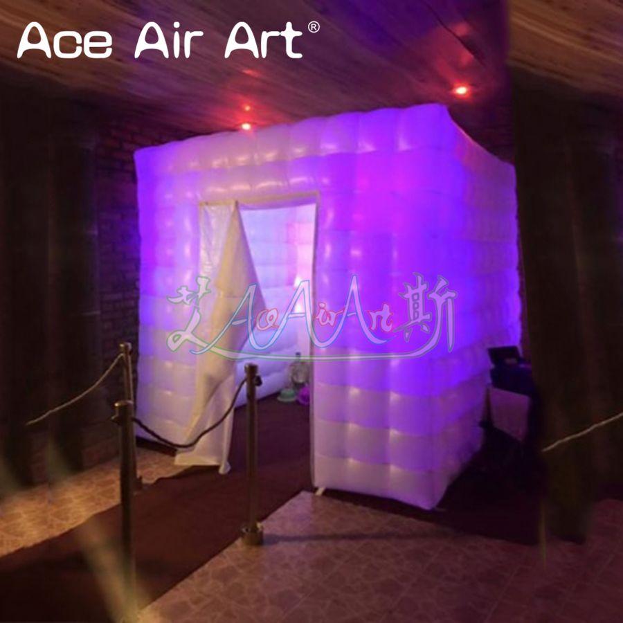 Мобильный ярче надувной photo booth, фото навес Прокат с 12 шт. светодио дный Светодиодные Красочные огни и прикрепляемые шторы для Мексики