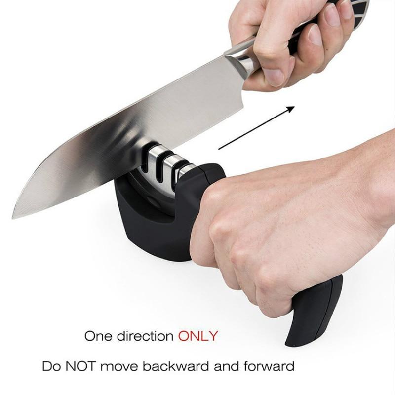 1 PC 3 etapas afilador de cuchillo profesional cocina piedra de afilar de acero de tungsteno y de cuchillos cocina Accesorio