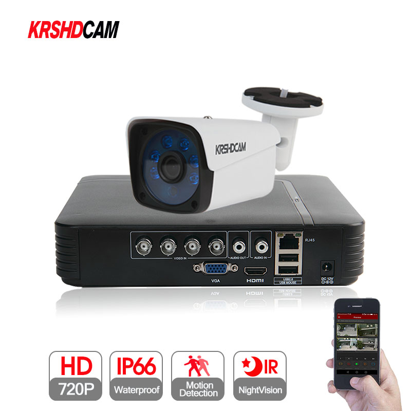 KRSHDCAM Security CCTV System 30M IR 2PCS 720P CCTV Camera Outdoor Waterproof Camera 5 in1 AHD DVR Home Video Surveillance Kit