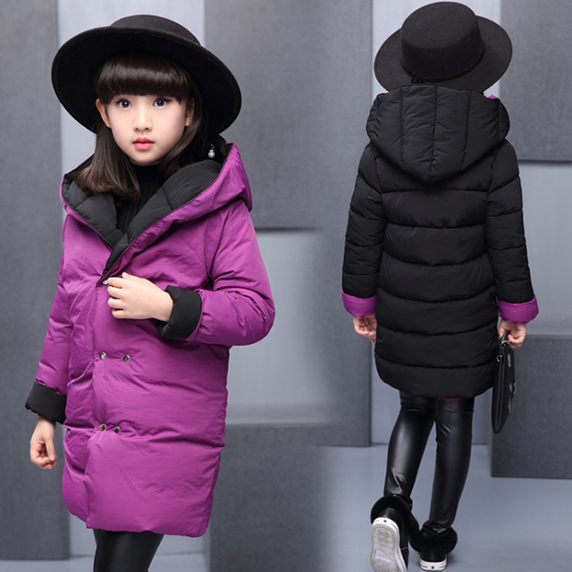 Special Price 2018 Children Down&Parkas 4-12T winter kids outerwear girls casual warm hooded jacket for girls solid Reversible wear warm coats