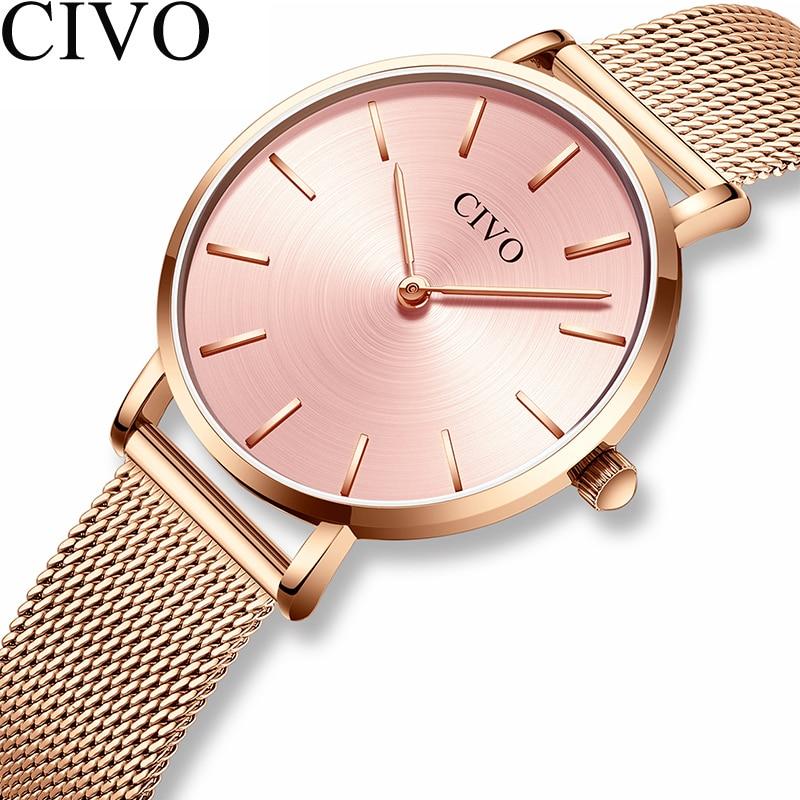 CIVO Luxury Ultra Thin Ladies Watches Women Waterproof Rose Gold Steel Mesh Simple Quartz Bracelet Watch Clock Relogio Feminino