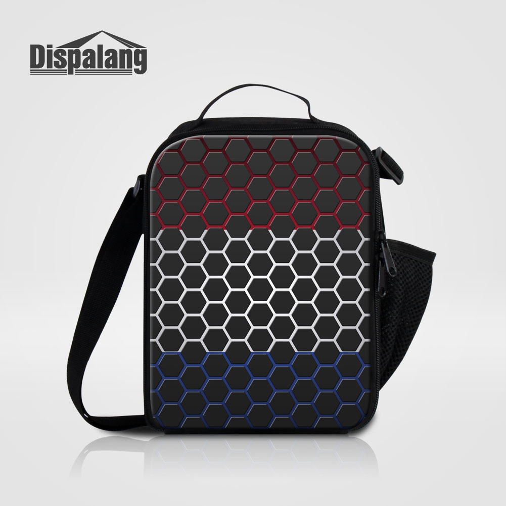Dispalang Kids Travel Picnic Thermal Insulated Food Bag Mens Small Lunch Bags For Work Geometric Prints Portable Cooler Storage