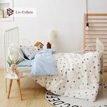Liv-Esthete 2019 New 100% Cotton Bear Kids Cartoon Blue Bedding Set Duvet Cover Pillowcase Bed Linen For Mom Baby 3Pcs недорого