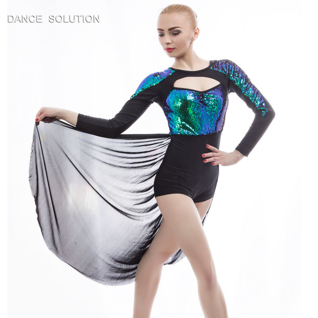 Lyrical   Contemporary Stage Costume Green Sequin Dancewear Black Long  Sleeve Leotard With Open Front Cascade eef4d0169d9e
