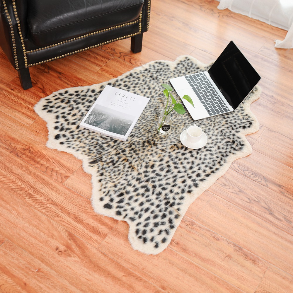 Us 46 0 94x100cm Stylish Plush Leopard Print Rugs Imitation Animal Fur Carpet For Living Room Mat Bed Coffee Table Decorations In