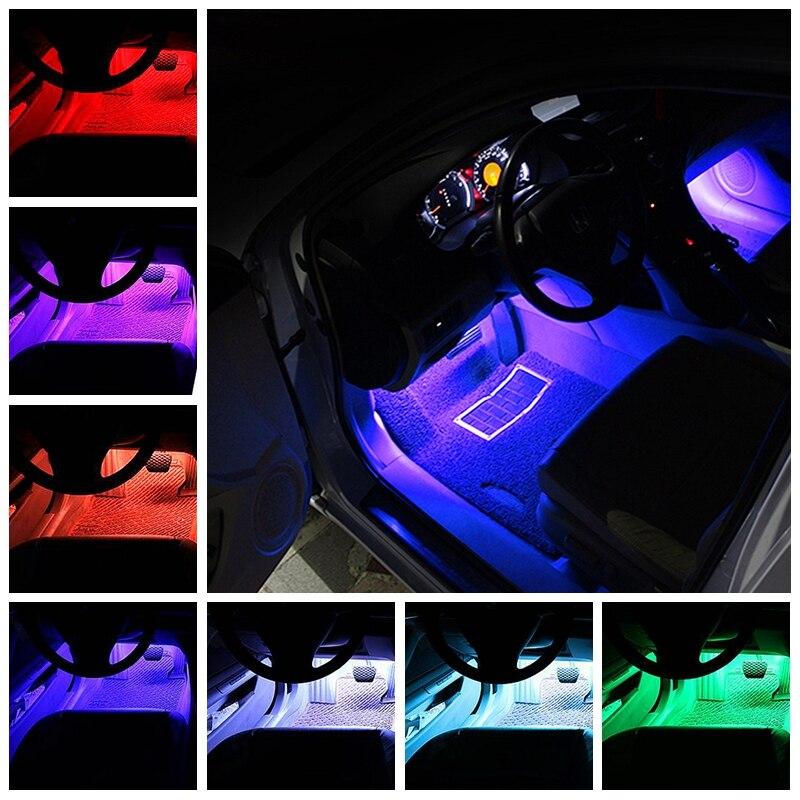 Купить с кэшбэком Tak Wai Lee 4X Cell Phone APP Control LED Atmosphere RGB Strip Light Car Music 16 Million Colors Acoustic Source Interior Lamp