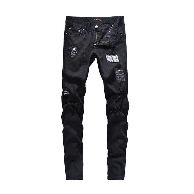 Mental skull Brand 2018 Mens Business Jeans Stretch Slim Jeans Classic Trousers Denim Pants Male Scratched Biker Twill Jeans