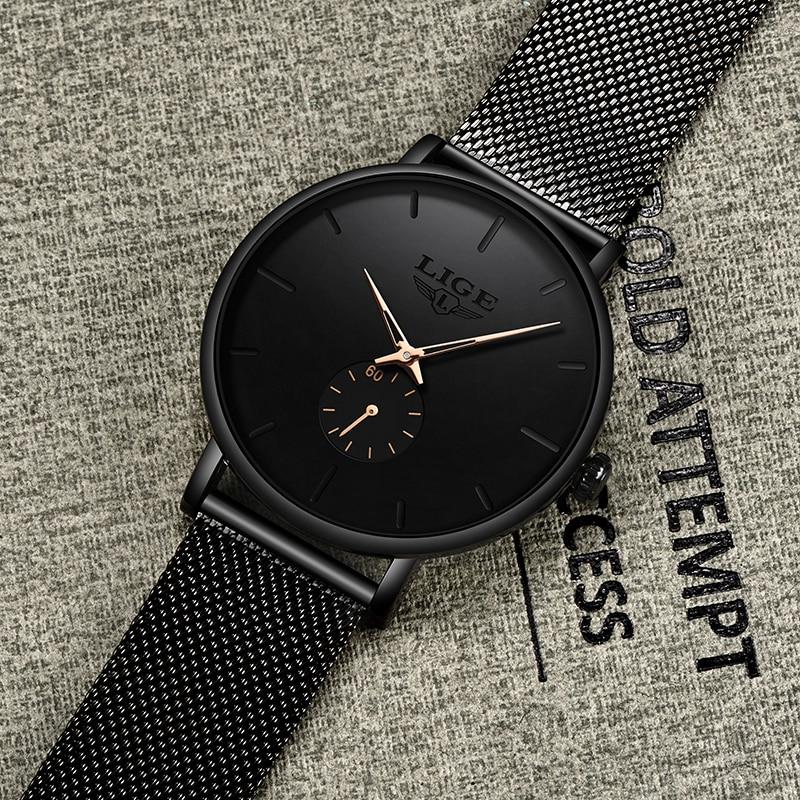 LIGE Womens Watches Top Brand Luxury Casual Fashion Watch Women Quartz Waterproof Clock Mesh belt Ladies Wristwatch Ladies Watch