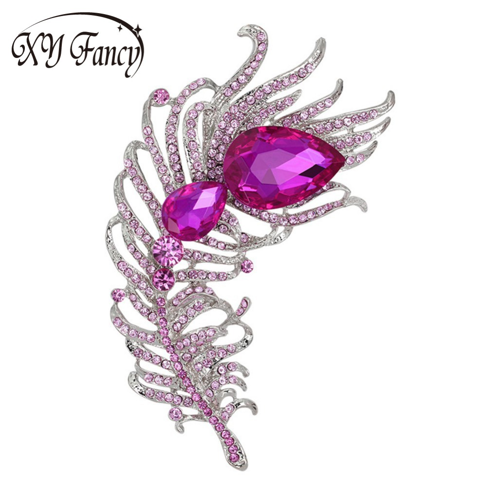 XY Fancy women fashion clothing brooch Crystal Peacock Feathers Brooch Pins pink Rhinest ...