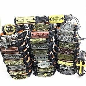 Image 3 - Wholesale Lots Bulk 50pcs genuine Cuff leather Bracelet Men Women unisex mosaic Copper alloy Mix Styles Fashion Handmade Jewelry
