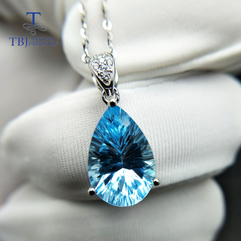 TBJ,Big shiny pendant with natural sky blue topaz concave cut in 925 sterling silver fine jewelry for women & girl with gift box