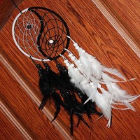 Handmade Yin Yang Dream Catcher With Feathers, Black & White
