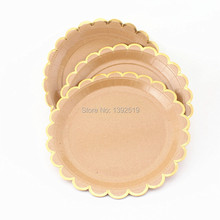 32Pcs/Lot Small Kraft Scollop Edged Paper Plates Stylish Party \u0026 Wedding Decorations and Tableware  sc 1 st  AliExpress.com & Buy brown paper plates and get free shipping on AliExpress.com