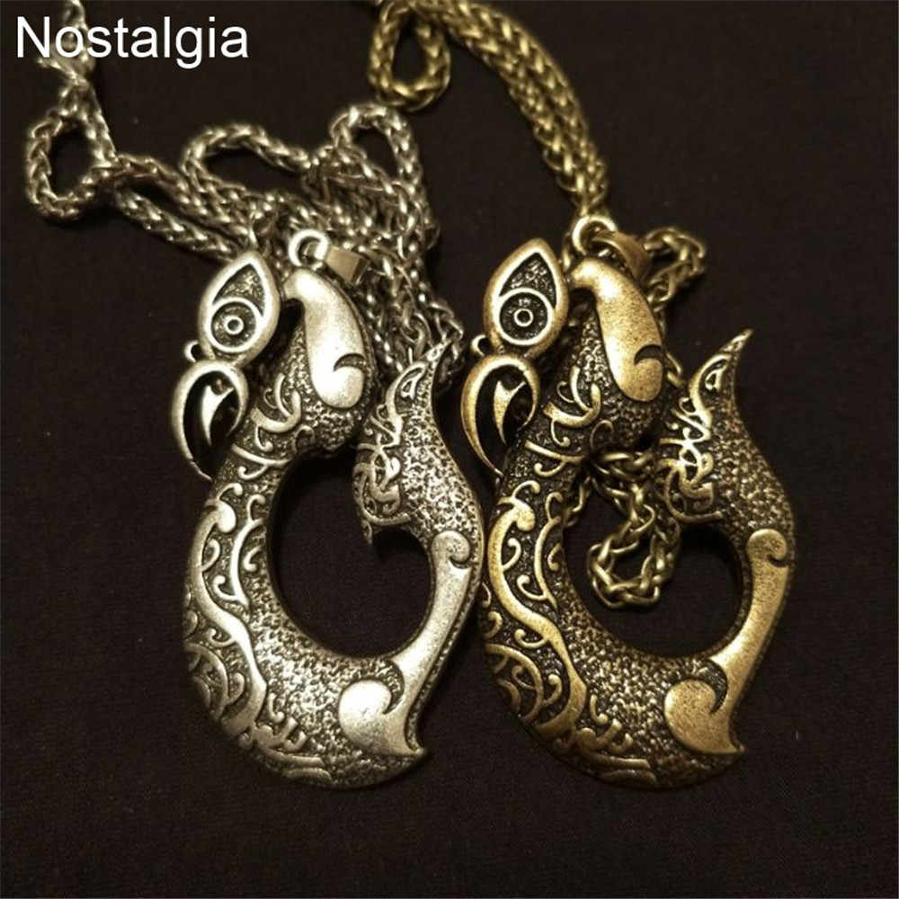 637a20240830e ... Nostalgia Viking Turkey Pendant Tribal Necklace Pikorua Maori Twist  Symbol Manaia Koru New Zealand Jewelry Amulet ...