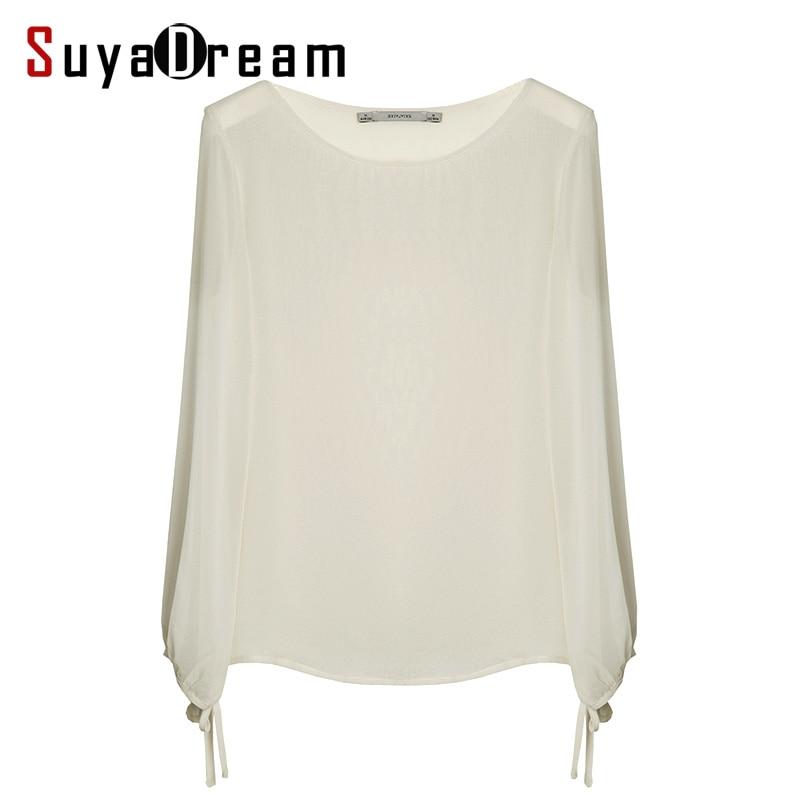 100% REAL SEDA Blusa de Las Mujeres camisa de gasa Blanco Sólido O cuello camisa
