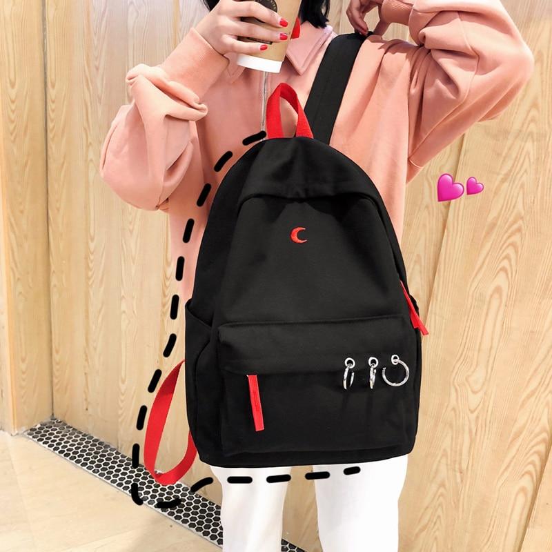 Japanese Harajuku Backpack Girl School Bags Pack Women Kpop Ulzzang Street Fashion Casual Laptop Travel Shoulder Bag Teens Black
