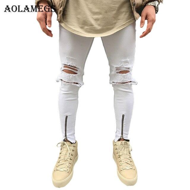 aolamegs biker jeans m nner wei e loch seitlichem rei verschluss denim hosen herren skinny jeans. Black Bedroom Furniture Sets. Home Design Ideas