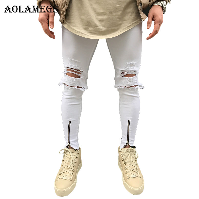 Aolamegs Biker Jeans Men White Hole Side Zipper Denim Pants Mens Skinny Jeans Brand Baggy Cotton Trousers Bottoms Jean Fashion