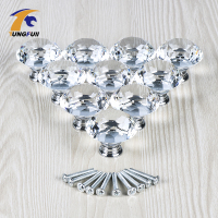 10pcs Lot 40mm Clear Diamond Shape Crystal Glass Pull Handle Cupboard Cabinet Drawer Door Furniture Knob