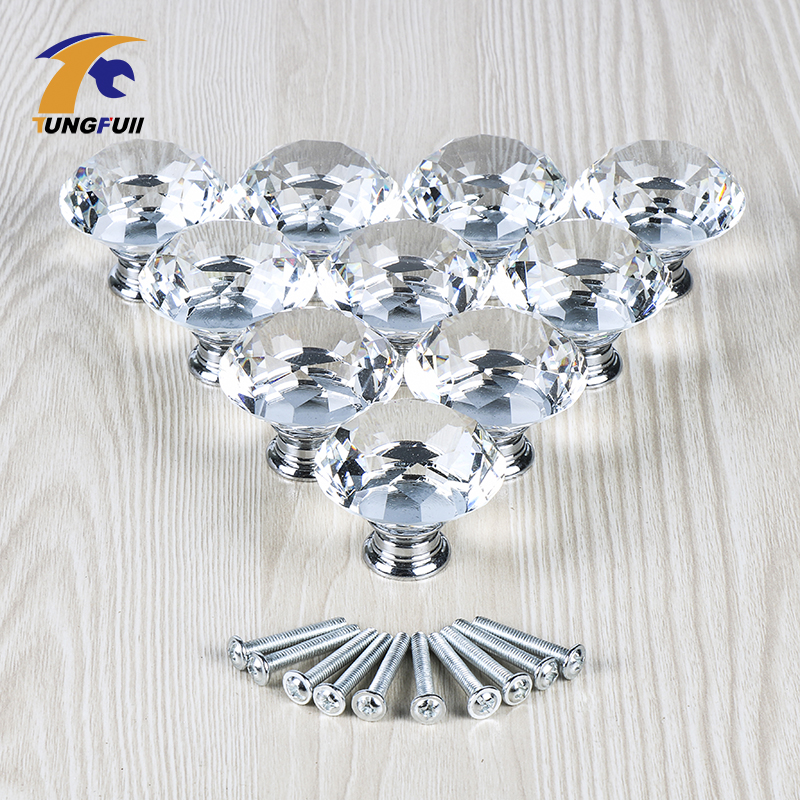10PCS 40MM Clear Crystal Glass Diamond Cut Door Knobs Kitchen Cabinet Drawer knobs+Screw Home Decorating 16x 40mm clear diamond crystal glass door knobs drawer cabinet furniture kitchen