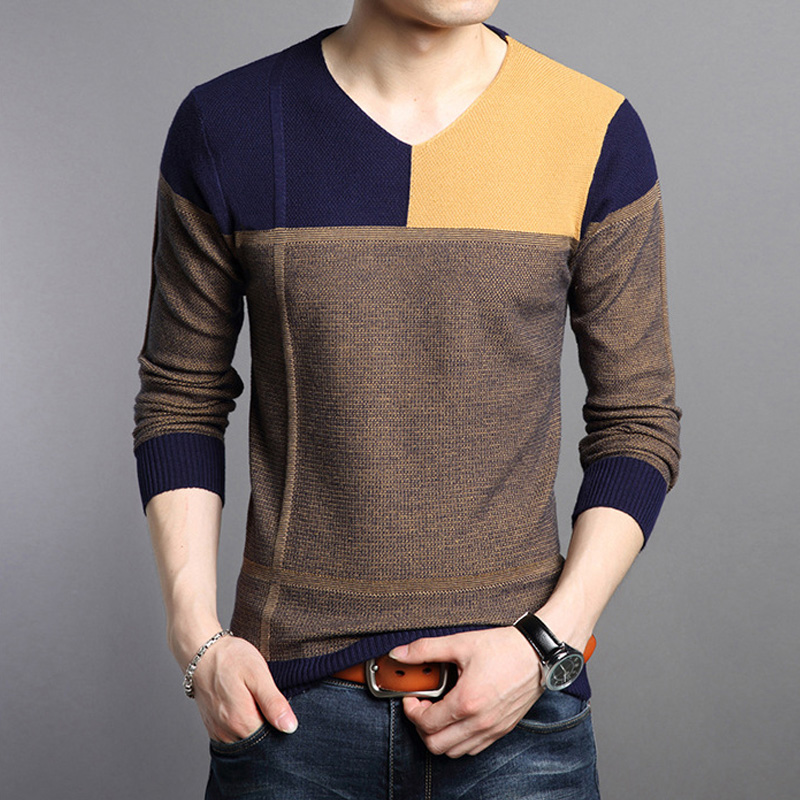 2019 Autumn Winter Sweater Men Brand Social Cotton Thin Pullover Sweaters Casual Crocheted Striped Knitted Sweater Men Clothes