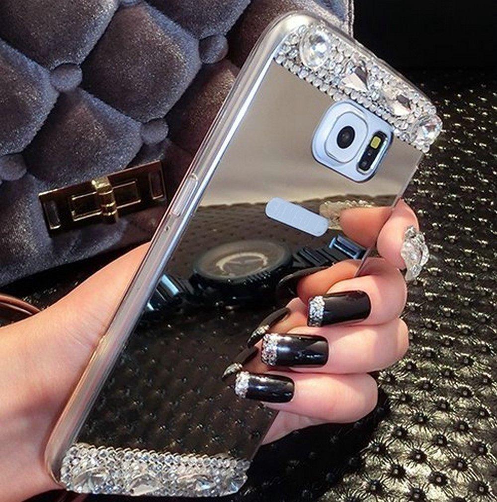 Diamond Glitter Bling Měkký lesklý šumivý se skleněným zrcadlem Zadní kryt Pouzdro pro Samsung A9 A8 A7 A6 A5 2018 j8 j7 j6 j5 j4 2018
