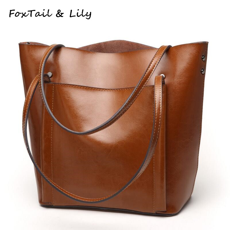 FoxTail & Lily Genuine Leather Vintage Shoulder Bags for Women Large Capacity Tote Bag Famous Designer Ladies Shopping Bags