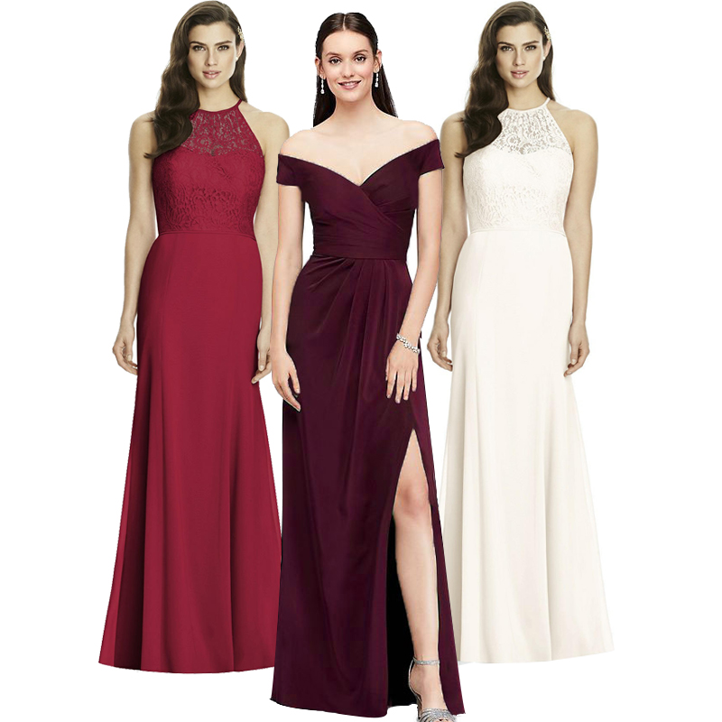 New Elegant Ladies Wedding Party Waist Sexy One-word-neck Dress High-end Long Skirt Evening Host Line Up Evening Dress