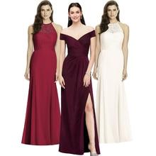 New Elegant Ladies Wedding Party Waist Sexy One word neck Dress High end Long Skirt Evening Host Line up Evening Dress