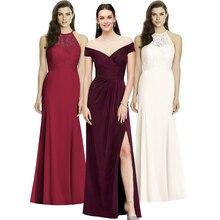 Nieuwe Elegante Dames Wedding Party Taille Sexy Een woord hals Jurk High end Lange Rok Avond Host line up Avondjurk