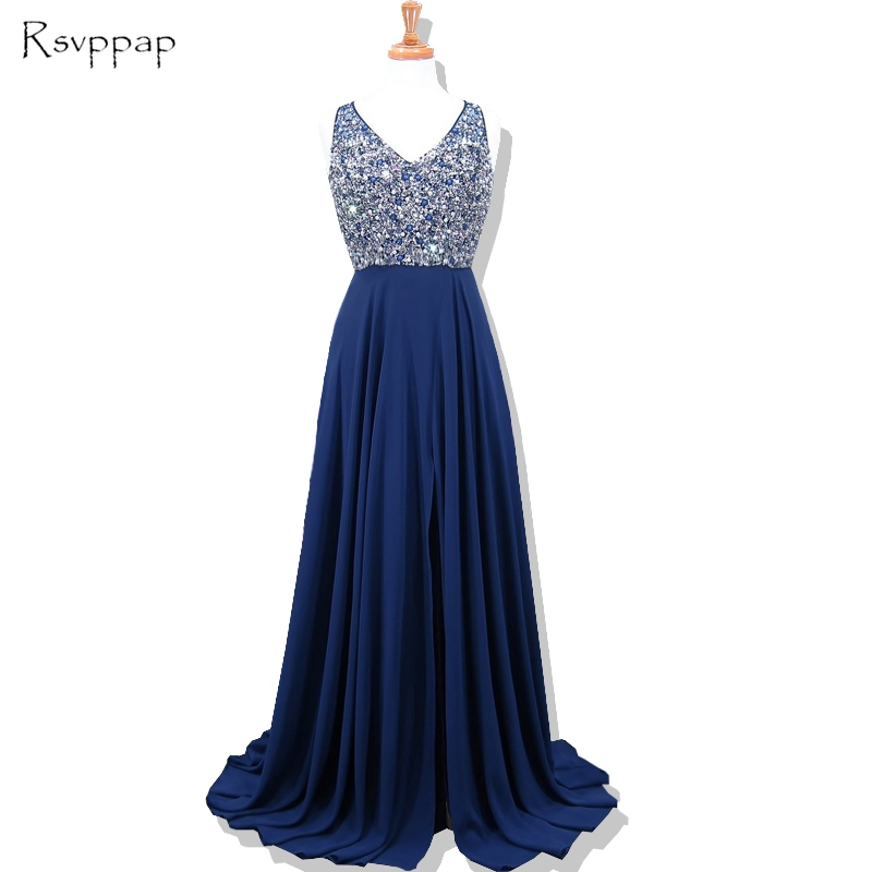 Long   Evening     Dress   2019 New Arrival Women Formal Gowns Heavy Beaded Backless African Navy Blue   Evening     Dresses   robe de soiree