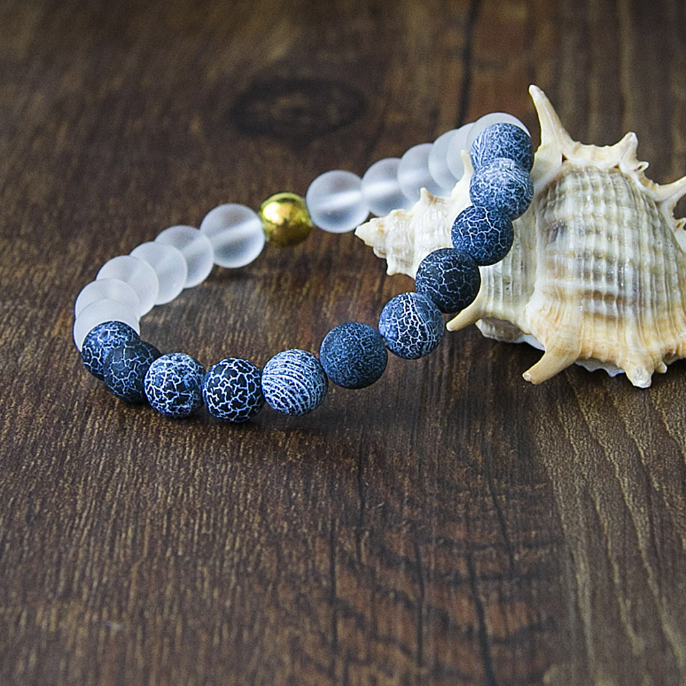 Natural Onyx Stone with Glass Beaded Bracelet Men Unisex Trendy Elastic Yoga Bracelets For Women Wholesale Jewelry