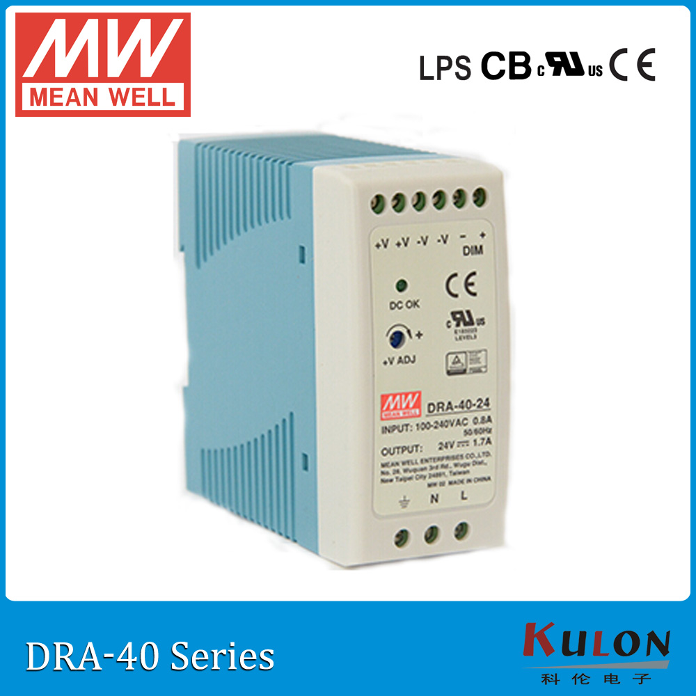 Original MEAN WELL DRA-40-24 40W 1.7A 24V Industrial DIN Rail Mounted and adjustable meanwell Power Supply DRA-40 ванна victoria albert drayton dra n sw of ft dra sw