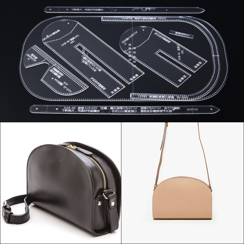 1set DIY Leather Handmade Craft Women Shoulder Messenger Bag Sewing Pattern Acrylic Stencil Template 25*20*10