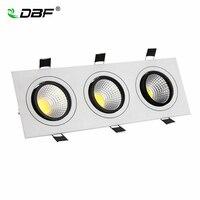 [DBF] Dimbare 3 Heads Vierkante Verzonken COB Downlight 15 W 21 W 30 W 36 W Hoek Verstelbare LED Plafondlamp AC 110 V/220 V Home Decor
