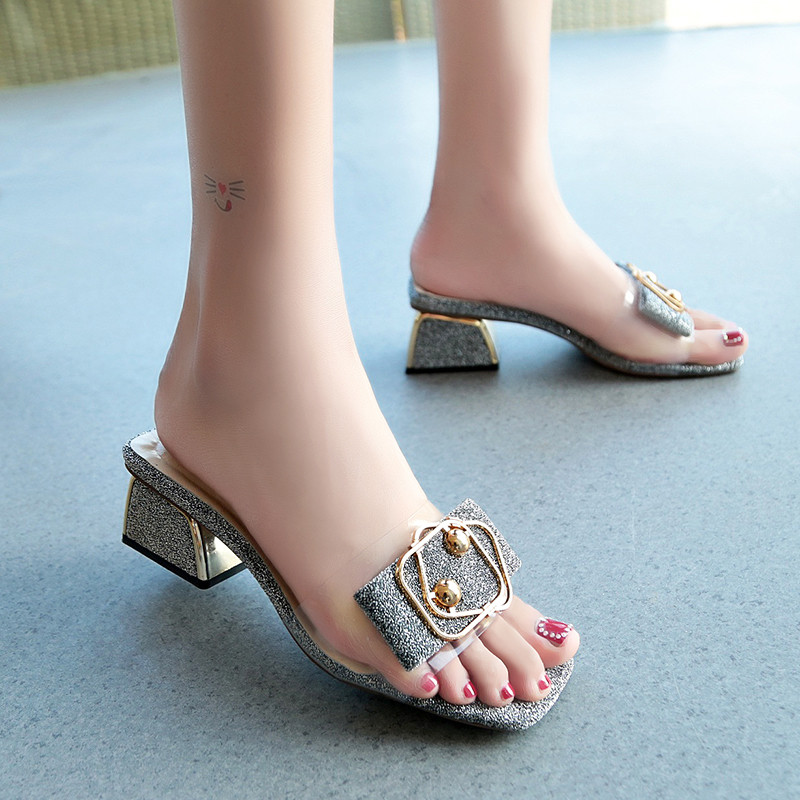 HKCP 2019 summer new slippers outside wearing wild high heeled women thick with transparent one word fashion slippers C247 in Slippers from Shoes