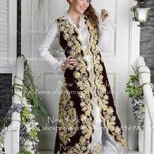 Средний Восток дизайн Золотое украшенное аппликацией вечернее платье Саудовская Аравия Выпускные Платья vestidos de festa куртка