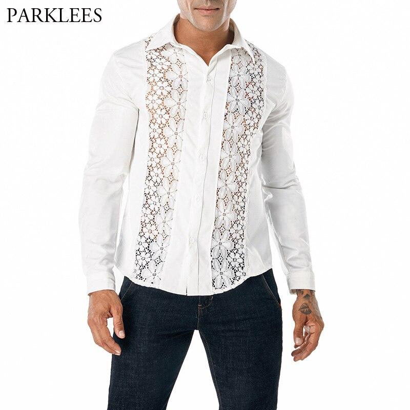 GH Mens Skinny Shirt Lapel Lace Fashion Long Sleeve Clubwear Shirts