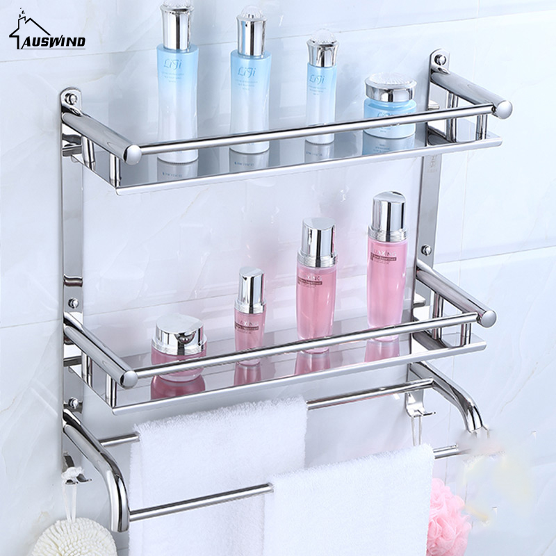 AUSWIND Wall Mount Silver 304 Stainless Steel 2 Layers Storage Basket Shower Room Bathroom Towel Rack Bathroom Shelves Sj6 black bathroom shelves stainless steel 2 tier square shelf shower caddy storage shampoo basket kitchen corner shampoo holder