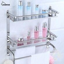 AUSWIND Wall Mount Silver 304 Stainless Steel 2 Layers Storage Basket Shower Room Bathroom Towel Rack Bathroom Shelves Sj6