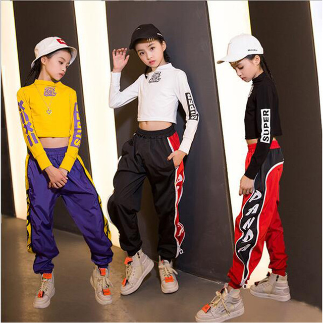 49a5d36cb Kids Hip Hop Clothing for Girls Cropped Sweatshirt Tops Jogger Pants ...