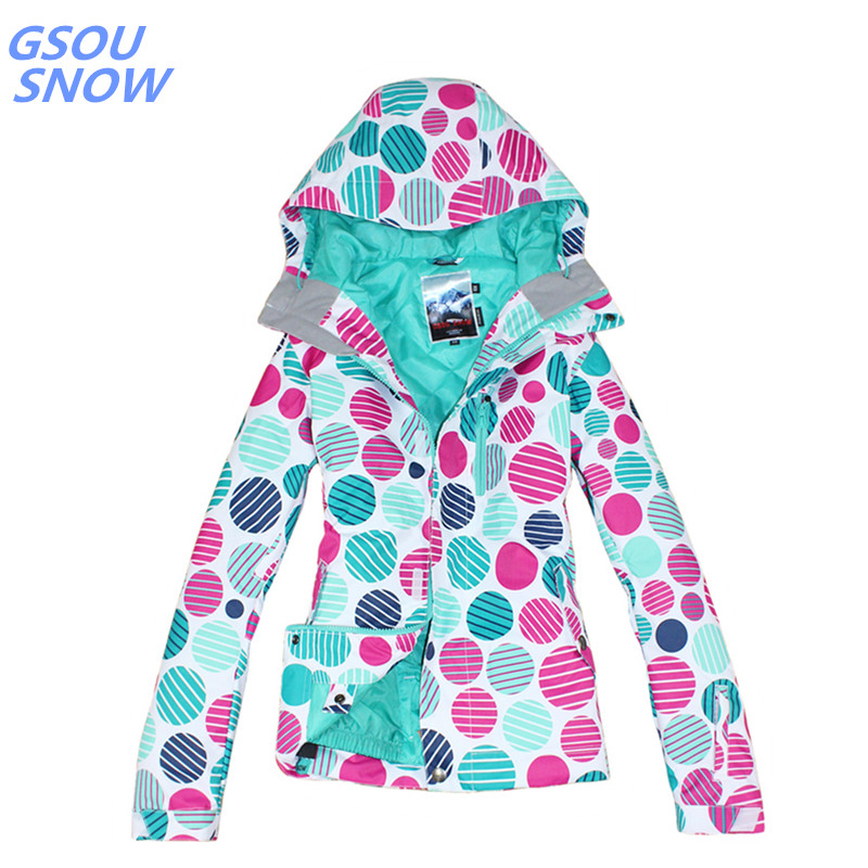 Gsou snow 30 градусов брендовая зимняя куртка для сноуборда для женщин Водонепроницаемая 10000 ветрозащитная цветная женская спортивная Лыжная ку... - 2