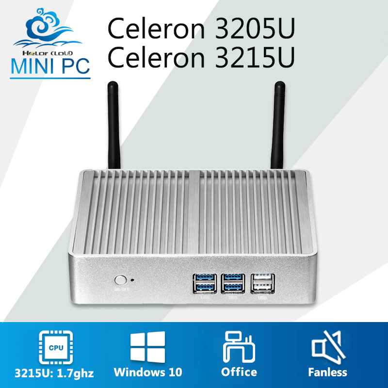 Fanless Mini Computer Intel Celeron 3205U Mini PC Windows 10 Office Computer Barebone Computer Desktop HDMI HTPC WIFI USB TV BOX big promotion windows 10 barebone intel i5 4260u processor desktop home computer with graphics 5000 hdmi vga tv box 8g 128g 1tb