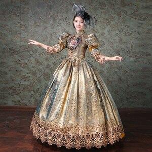 Image 3 - Aangepaste Champagne Marie Antoinette Vrouwen Lange Jurk Middeleeuwse masquerade jurken Baljurken Theater Kostuums